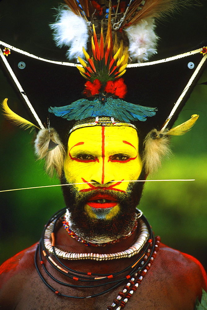 Papua New Guinea, Head shot of young man, face with war paint and wild hair