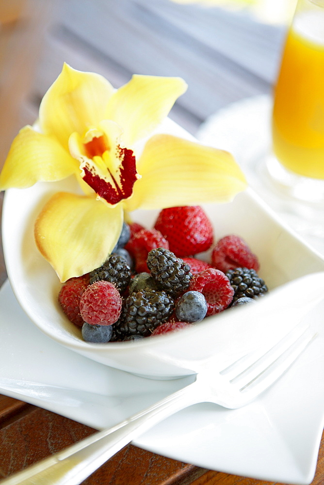 Hawaii, Maui, Balcony, Breakfast fresh Fruit Bowl with Orchid garnish.