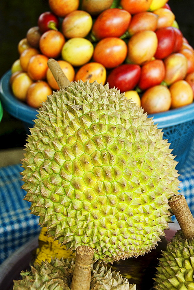 Indonesia, Bali, Durian fruit for sale.