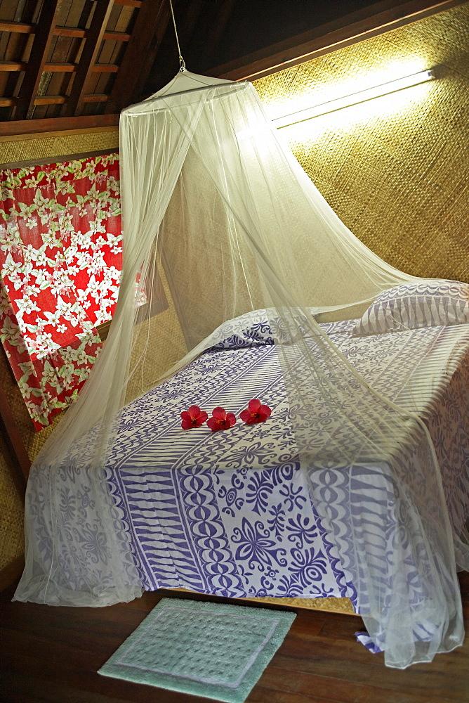 French Polynesia, Tahiti, Maupiti, hotel bedroom.