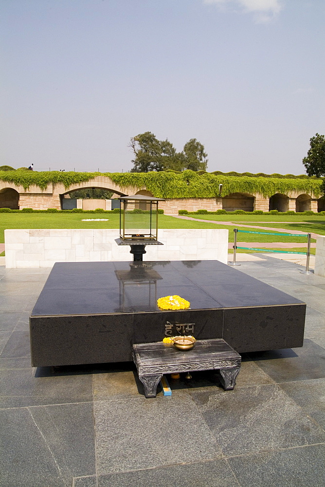 India, New Delhi, Raj Gaht, Grave of Gandhi 1948 memorial park where this world leaders ashes were buried.