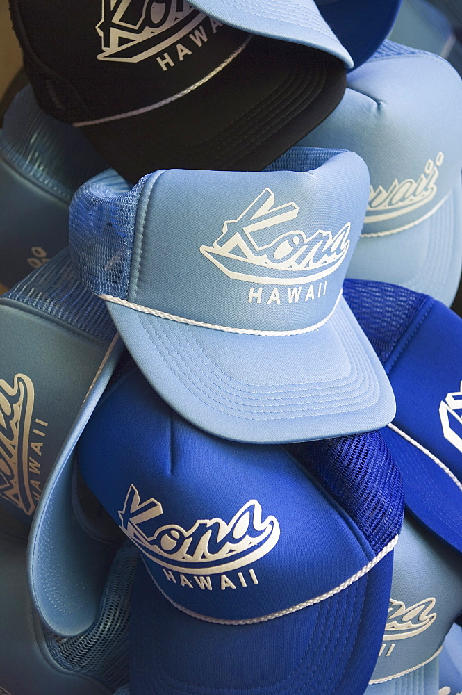 Hawaii, Big Island, Kailua-Kona, Hats with Kona, Hawaii printed on them in a store on Ali'i Drive.