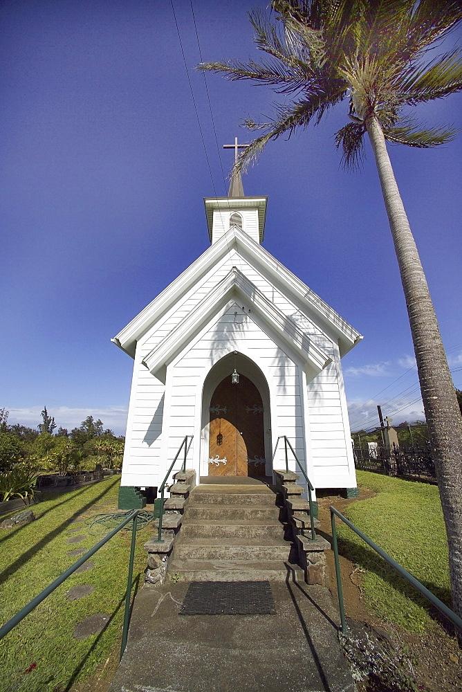 Hawaii, Big Island, North Kohala, Hawi, small white church.
