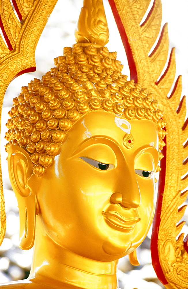 Thailand, Pathom Thani, Shell Temple, headshot of golden Buddha statue with smile