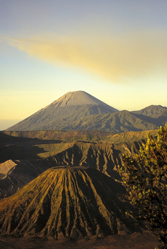 Indonesia, Java, Bromo Tengger Semeru National Park, view of craters ingolden light