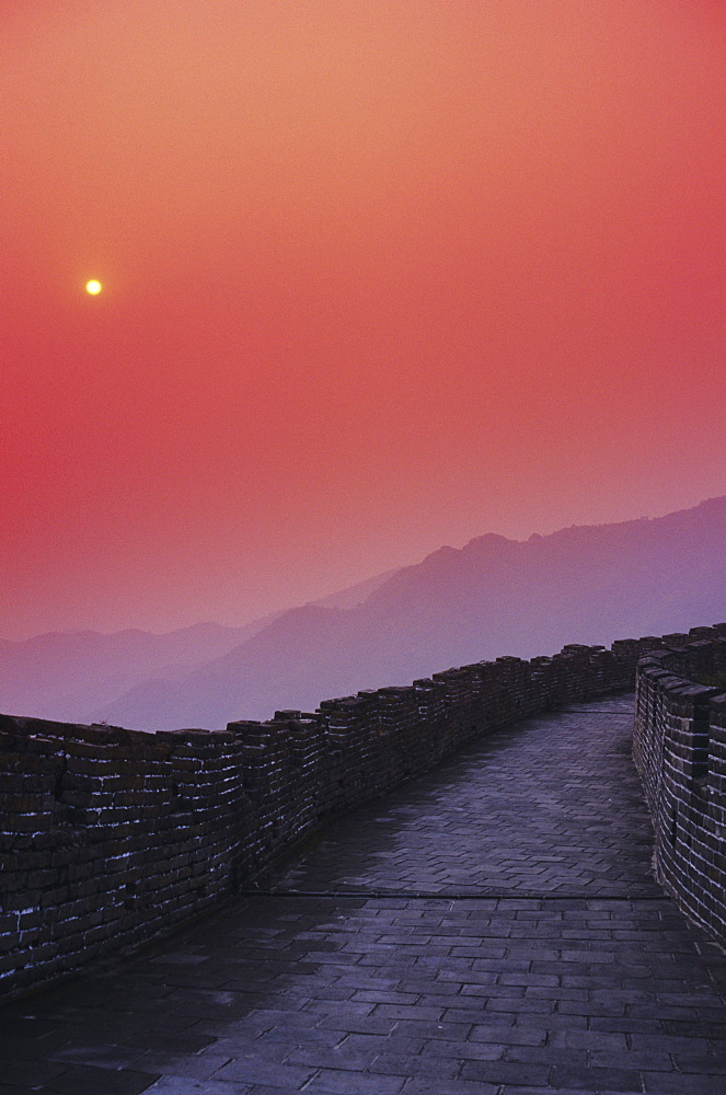 China, Mu Tian Yu, The Great Wall of China, bright red sky and distant moon
