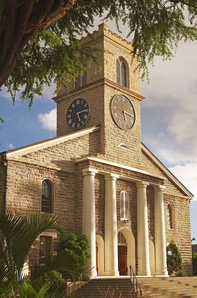 Hawaii, Oahu, Honolulu, downtown historic district, Kawaiahao Church est.1838.