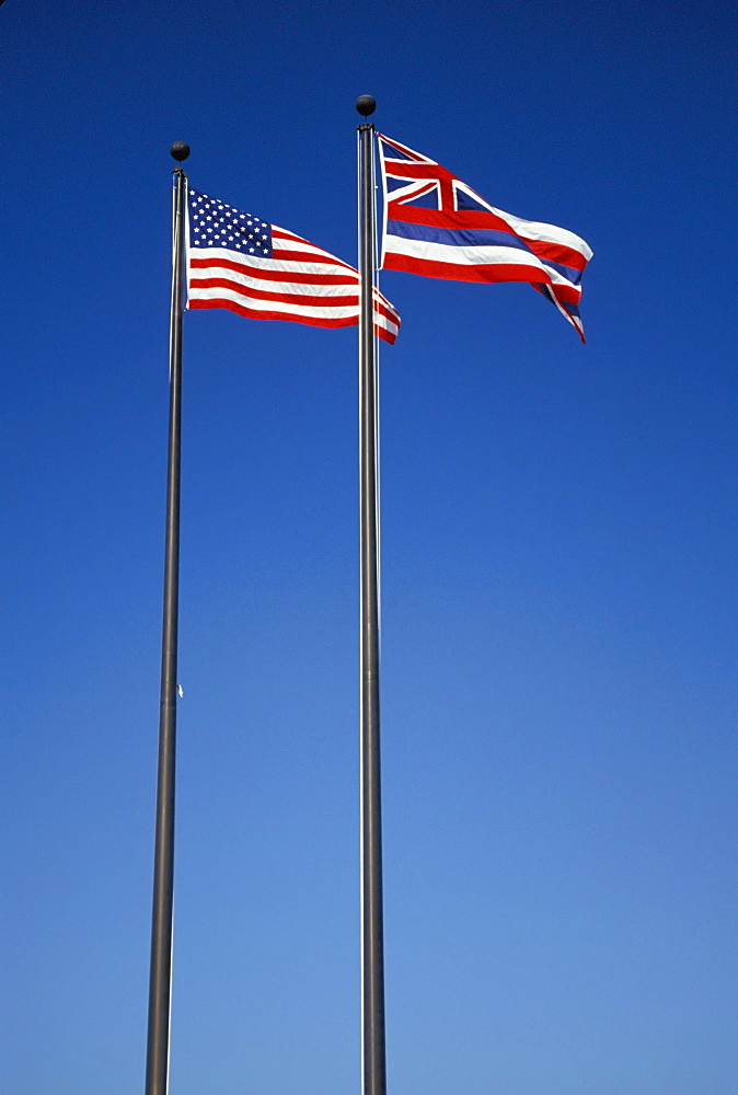 U. S. and Hawaii State flags, long vertical shot, blue sky,