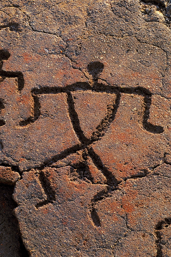Hawaii, Big Island, South Kohala, Hawaiian petroglyphs, Anaeho'omalu,