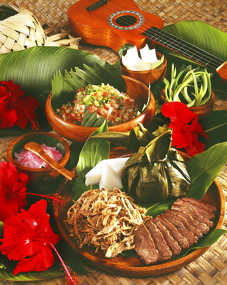 A delicious selection of Hawaiian foods.