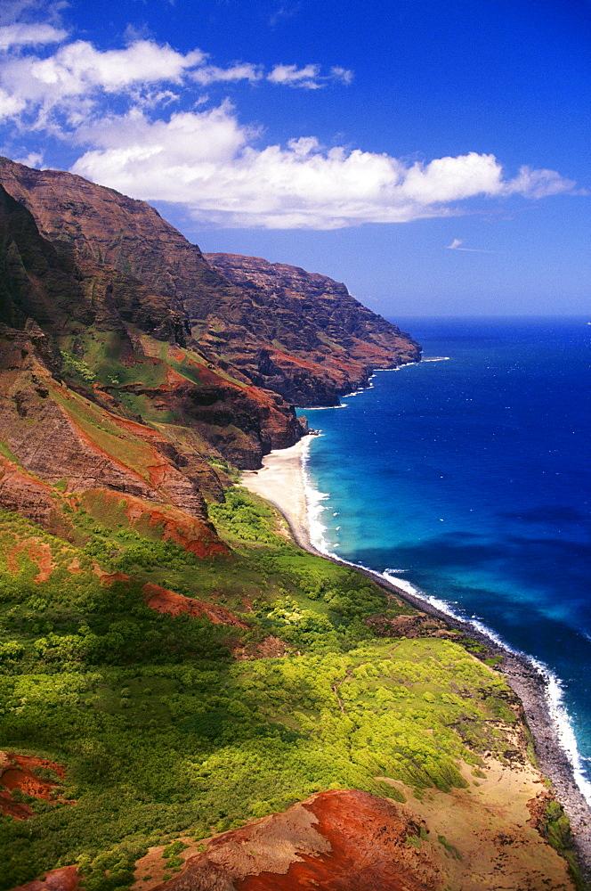 Hawaii, Kauai, NaPali Coast, aerial jagged coastal cliffs