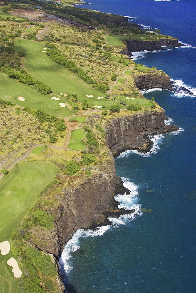 Hawaii, Lanai, Manele golf course along coastline