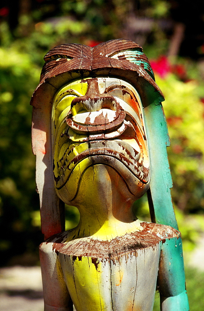Guam, Closeup of colorful wooden painted tiki