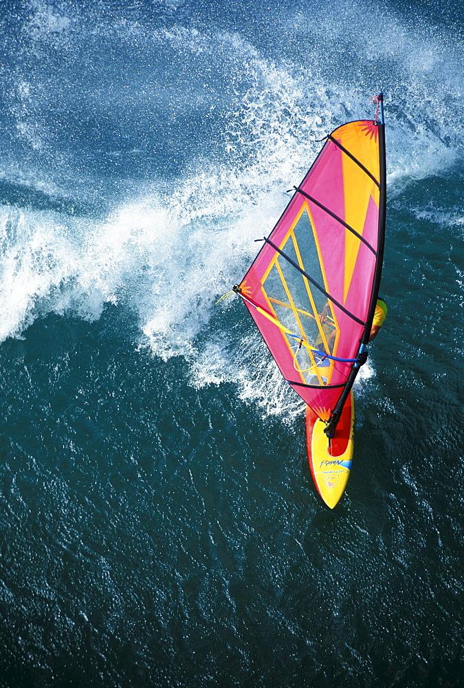 Hawaii, Maui, Ho'okipa, Pete Cabrinha Aerial, close-up