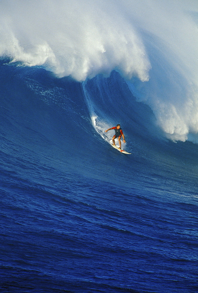 Hawaii, Maui, North Shore, Buzzy Kerbox surfs large curling wave, Jaws aka Peahi