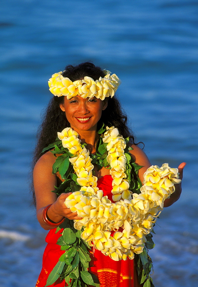 Hawaii, Hawaiian Maiden, Offering flower Leis in Aloha Spirit