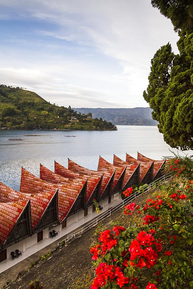 Cottages of Hotel Danau Toba by Lake Toba, Parapat, Lake Toba, North Sumatra, Indonesia
