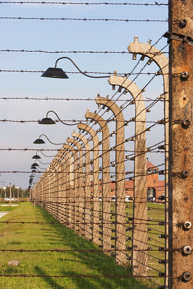 Electrified Barbed Wire Fence Separating Sections Of The Auschwitz-Birkenau Concentration Camp, Oswiecim, Malopolska, Poland