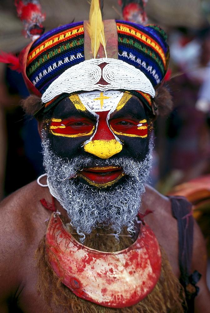 Papua New Guinea, Portrait Of Man In Tribal Dress B1719