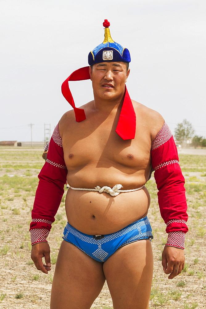 Mongolian wrestler at the Naadam Festival in Mandal Ovoo, Ömnögovi Province, Mongolia