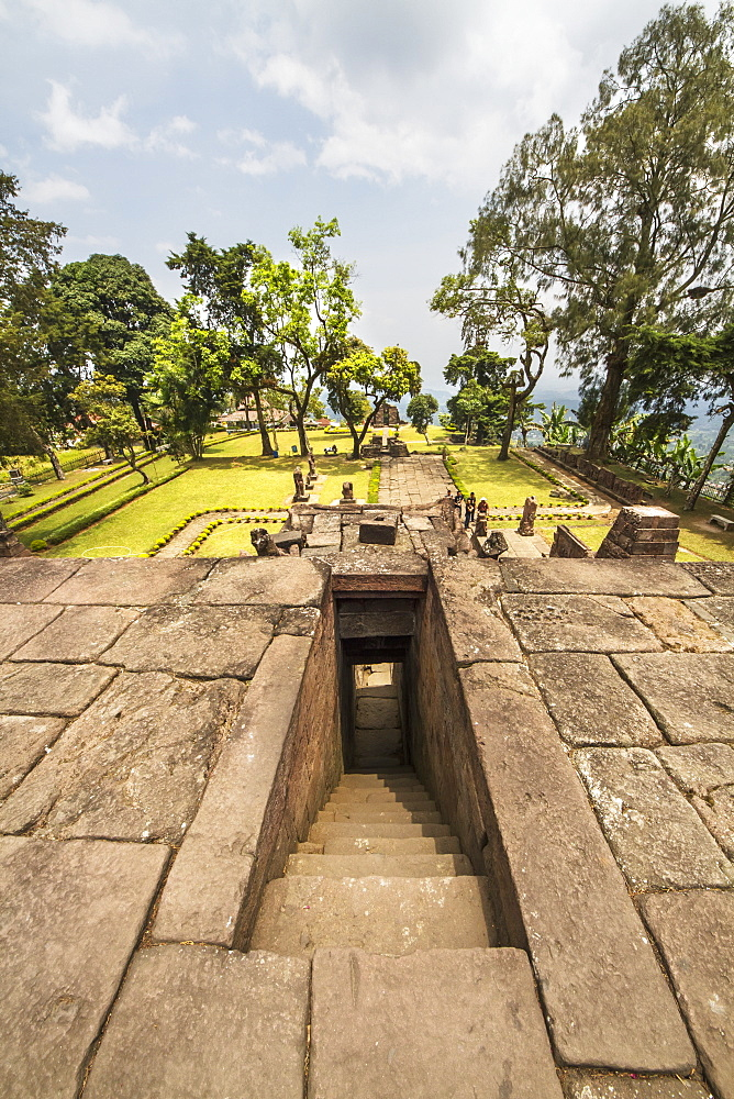 View from the top of the central pyramid of the 15th-century Javanese-Hindu temple, Candi Sukuh, Central Java, Indonesia