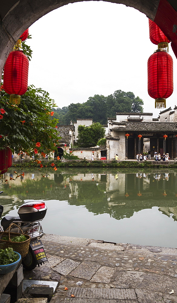 Red lanterns on a house by the Moon Pond, Hongcun, Anhui, China