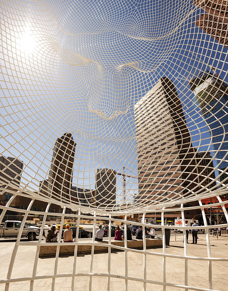 Calgary Skyline Viewed Through The Wonderland Sculpture; Calgary, Alberta, Canada - 1116-39626
