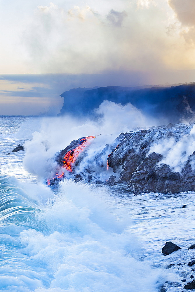 Pahoehoe lava flowing from Kilauea has reached the Pacific ocean near Kalapana, Island of Hawaii, Hawaii, United States of America