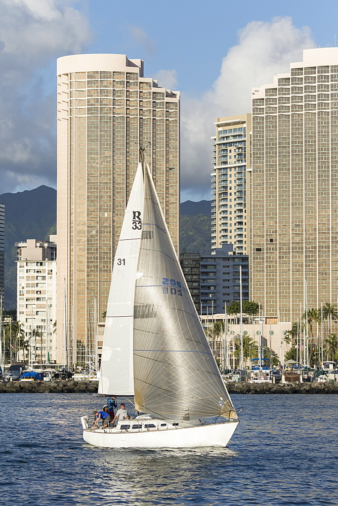 Sailing from the Ala Wai boat harbor, Waikiki, Honolulu, Oahu, Hawaii, United States of America