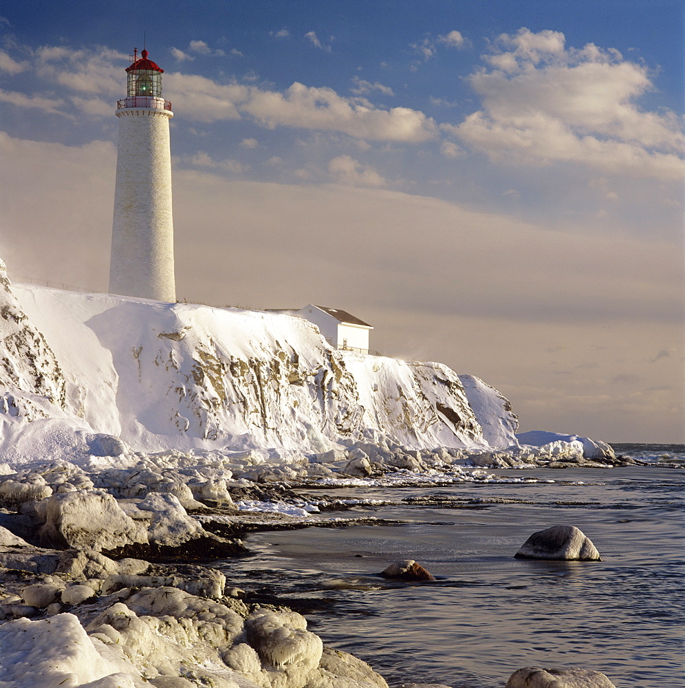 Lighthouse In Winter, Gaspe Coast, Cap-Des-Rosiers, Quebec