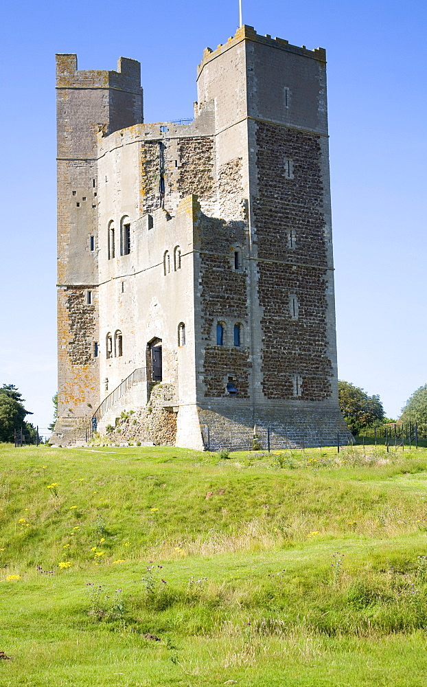 Unique polygonal tower keep of Orford Castle built by Henry II, Orford, Suffolk, England, United Kingdom, Europe - 1121-12