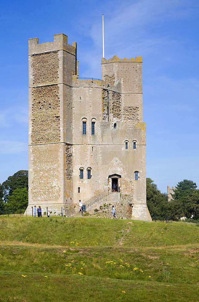 Unique polygonal tower keep of Orford Castle built by Henry II, Orford, Suffolk, England, United Kingdom, Europe - 1121-18