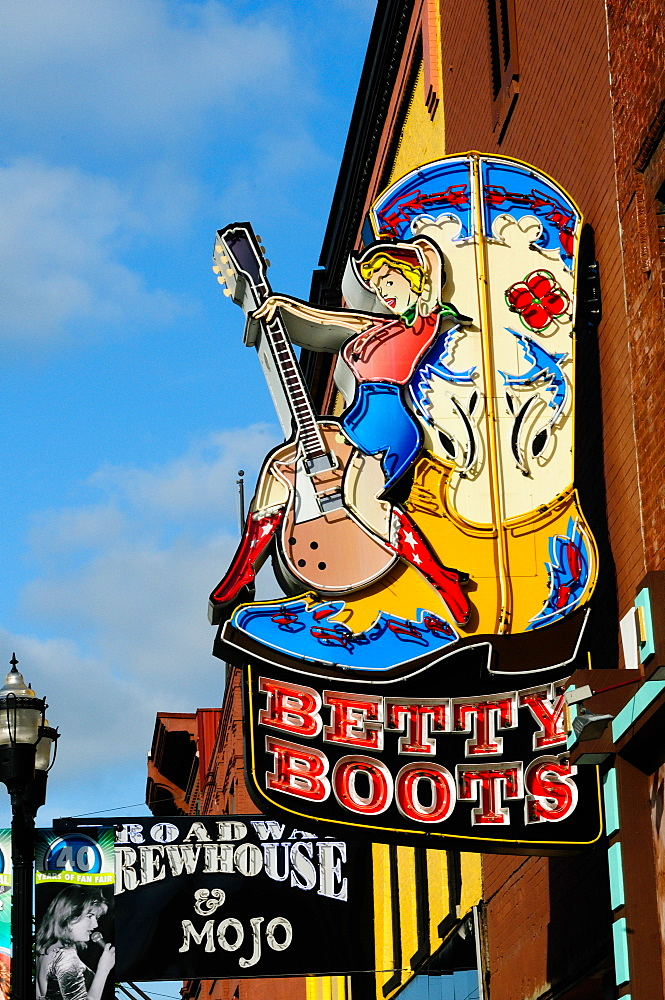 Betty Boots women's boot shop in Honky Tonk, Nashville, Tennessee, United States of America, North America