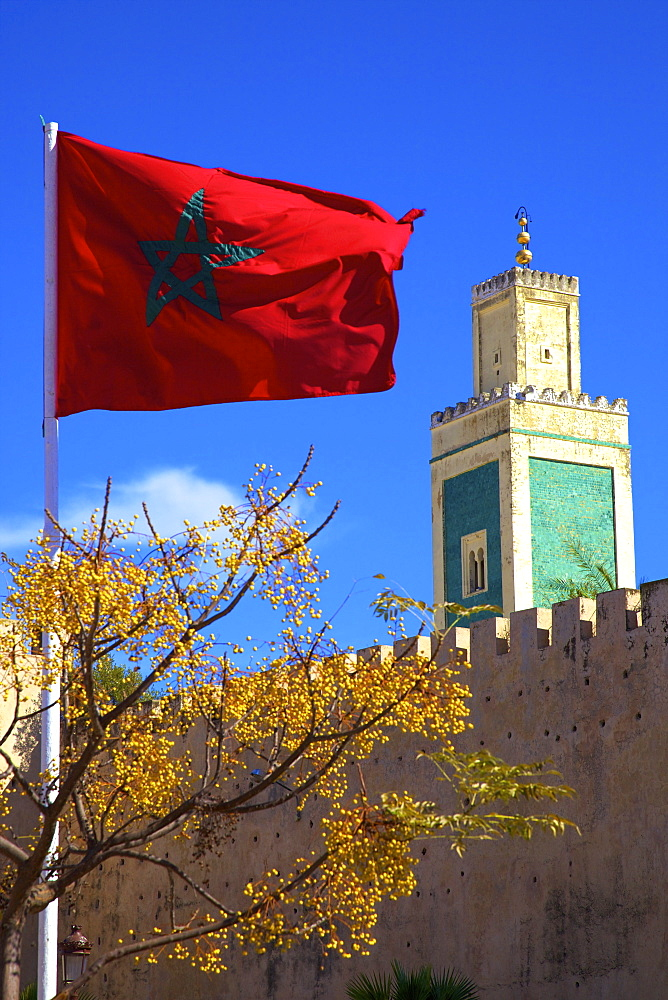 Place Lalla Aouda and the Minaret of the Lalla Aouda Mosque, Meknes, Morocco, North Africa, Africa - 1126-1057