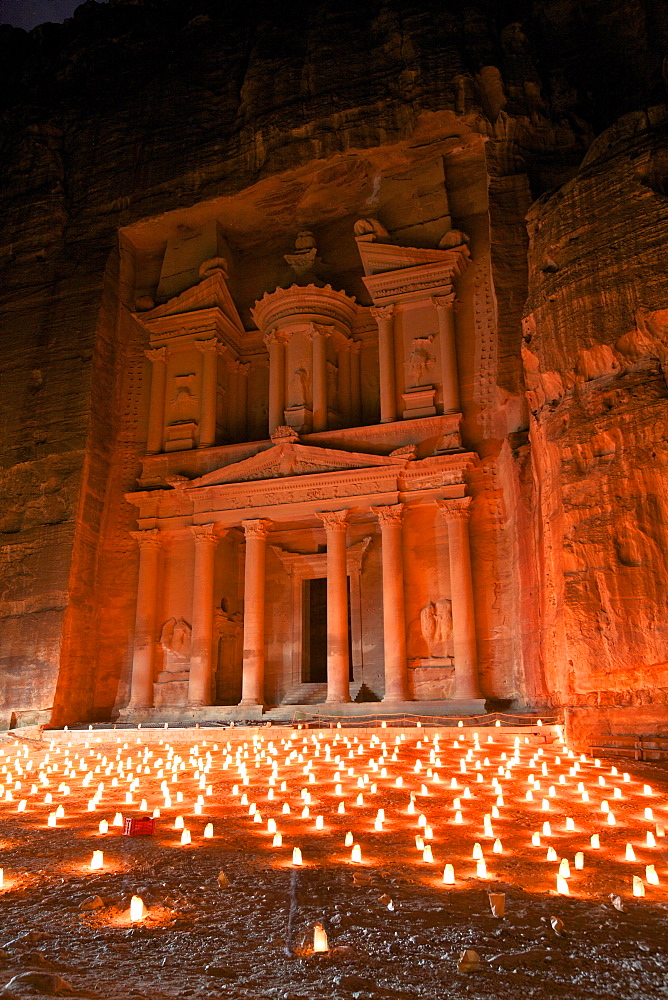 Treasury lit by candles at night, Petra, UNESCO World Heritage Site, Jordan, Middle East