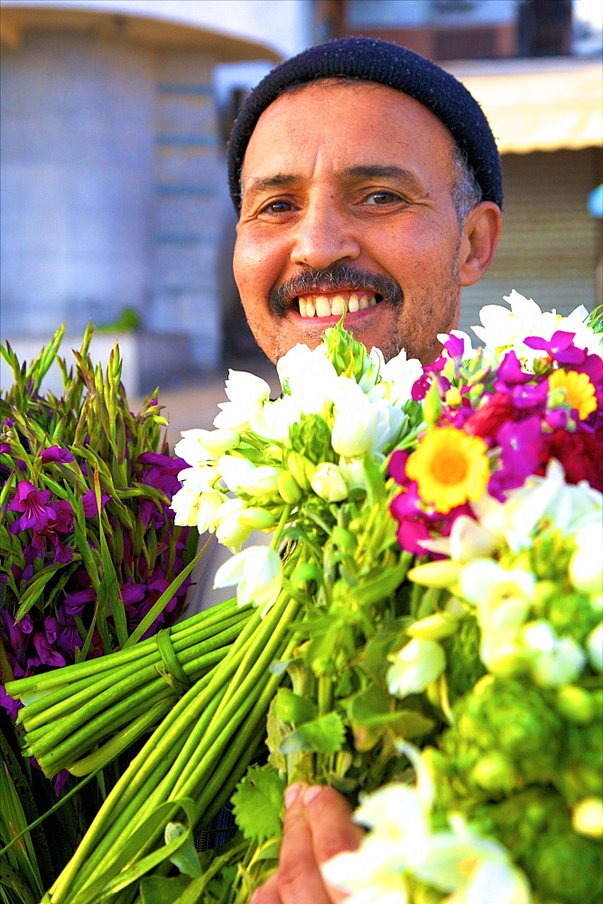 Flower seller, Tangier, Morocco, North Africa, Africa - 1126-1319