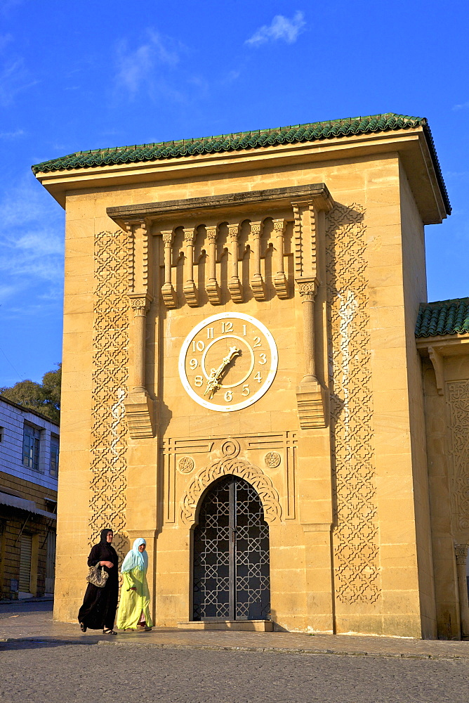 Clock Tower in Grand Socco, Tangier, Morocco, North Africa, Africa