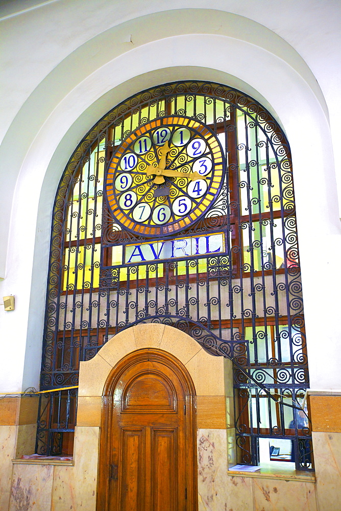 1919 Art Nouveau Post Office Building interior with stained glass window and clock, Casablanca, Morocco, North Africa, Africa