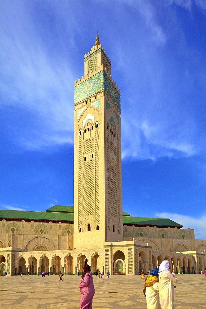 Exterior of Hassan ll Mosque, Casablanca, Morocco, North Africa, Africa