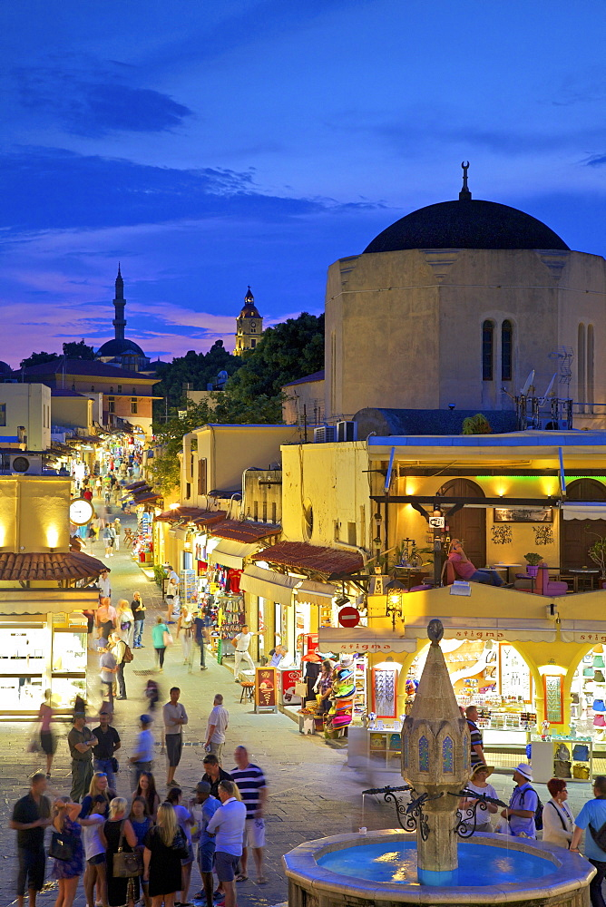 Hippocrates Square and Sokratous Street, Rhodes, Dodecanese, Greek Islands, Greece, Europe
