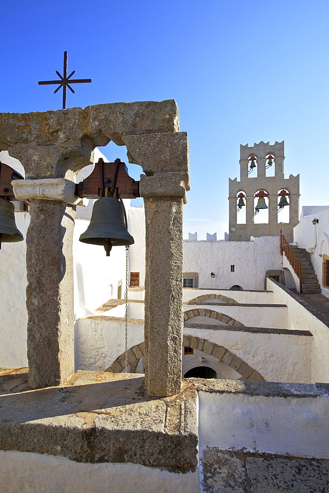 The Bell Towers at the Monastery of St. John at Chora, UNESCO World Heritage Site, Patmos, Dodecanese, Greek Islands, Greece, Europe
