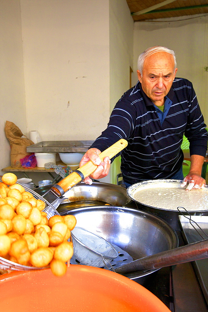 Man making Cypriot dessert, Pafos, Cyprus, Eastern Mediterranean Sea, Europe