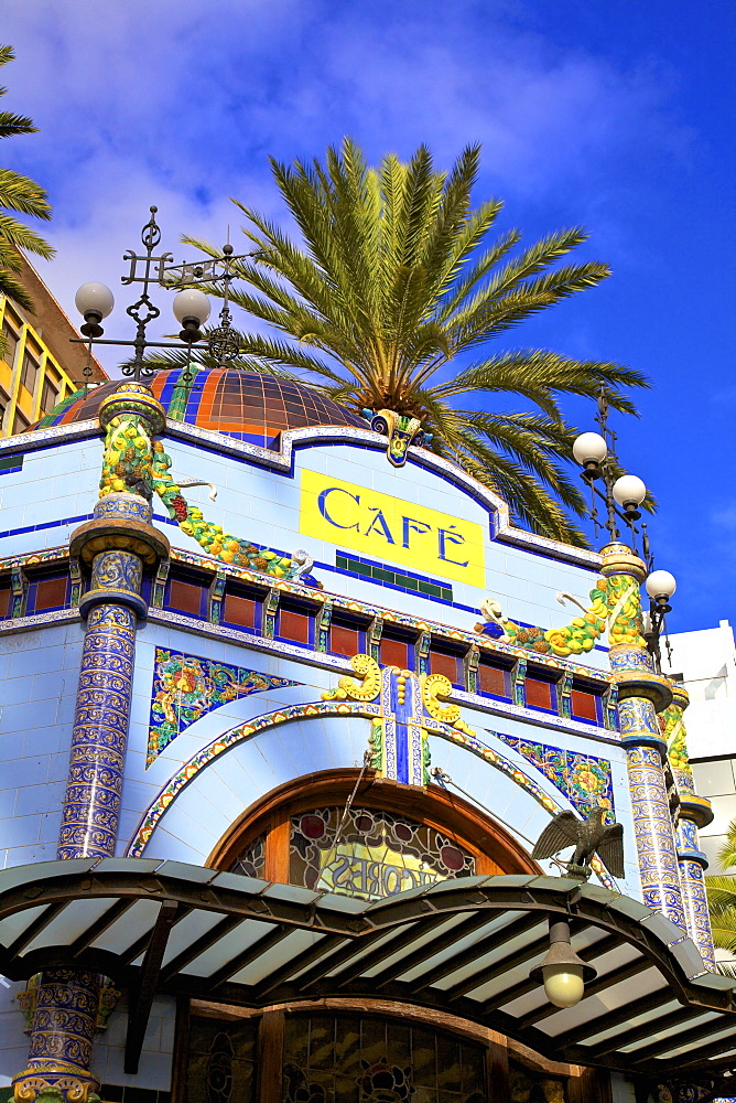 Art Deco cafe in San Telmo Park, Triana District, Las Palmas de Gran Canaria, Gran Canaria, Canary Islands, Spain, Atlantic, Europe
