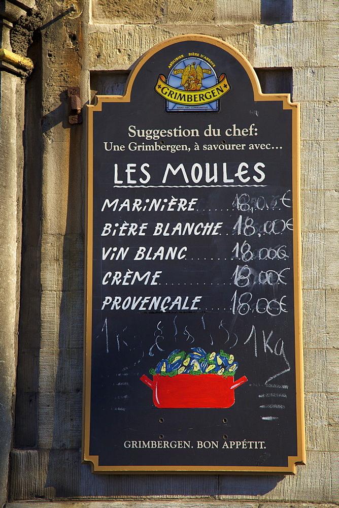 Restaurant sign, Brussels, Belgium, Europe
