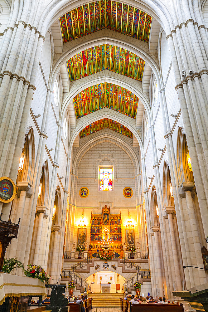 Interior of Almudena Cathedral, Madrid, Spain, South West Europe