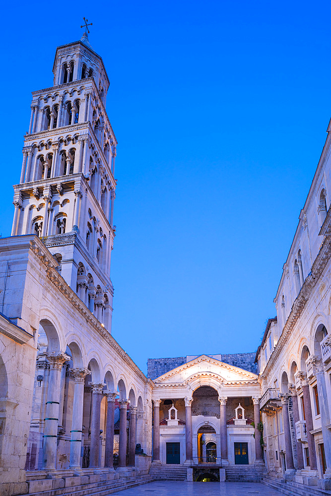 Illuminated Diocletian's Palace, UNESCO World Heritage Site, Split, Dalmatian Coast, Croatia, Europe