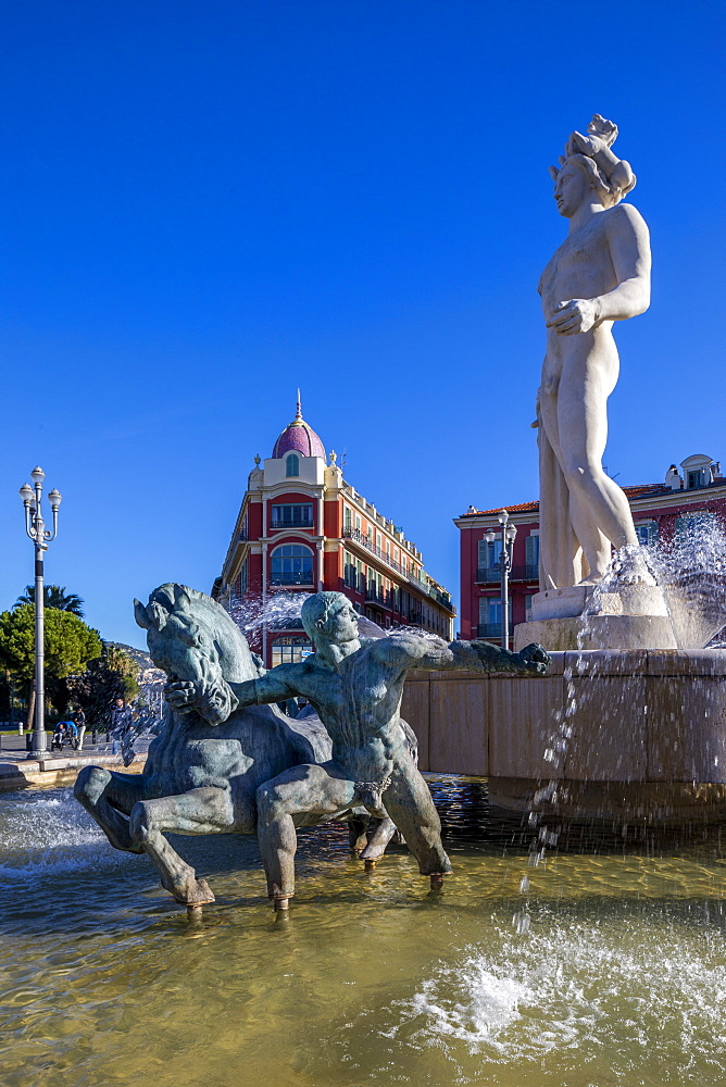Statue of Apollo at Place Massena, Nice, Alpes-Maritimes, Cote d'Azur, French Riviera, Provence, France, Mediterranean, Europe - 1126-1880