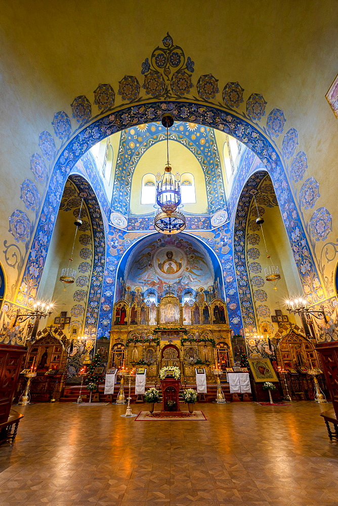 Interior of St Nicholas Russian Orthodox Cathedral, Nice, Alpes-Maritimes, Cote d'Azur, French Riviera, Provence, France, Mediterranean, Europe