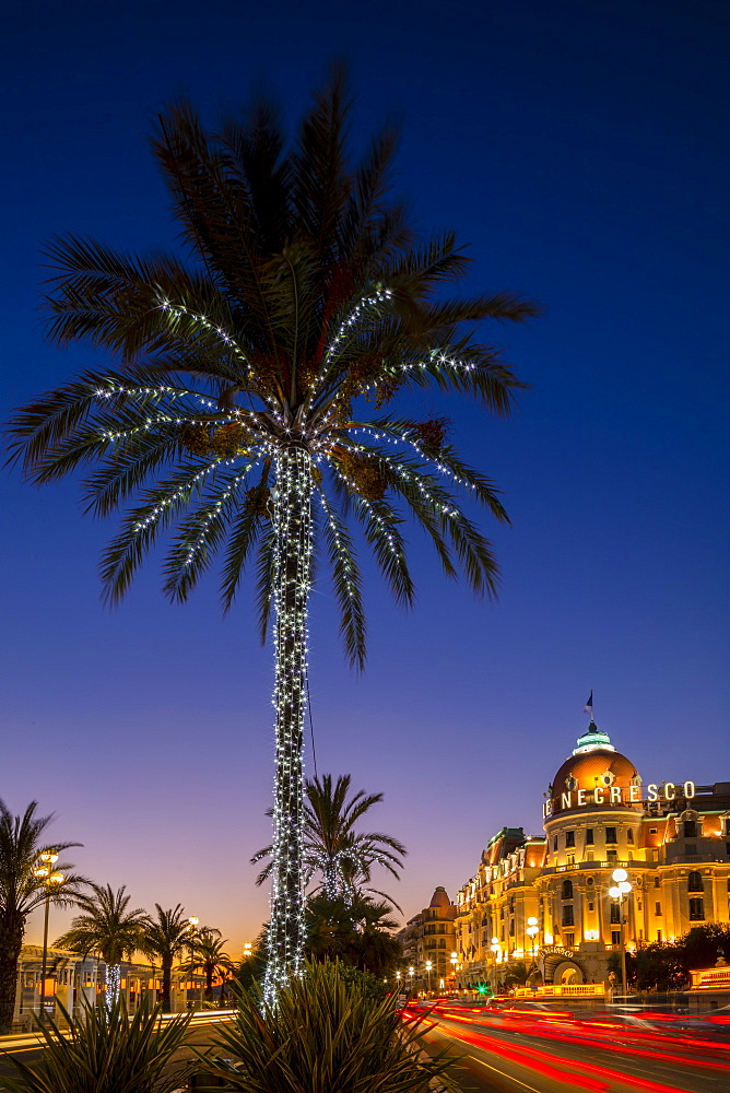 The Hotel Negresco at dusk, Promenade des Anglais, Baie des Anges, Nice, Alpes-Maritimes, Cote d'Azur, French Riviera, Provence, France, Mediterranean, Europe