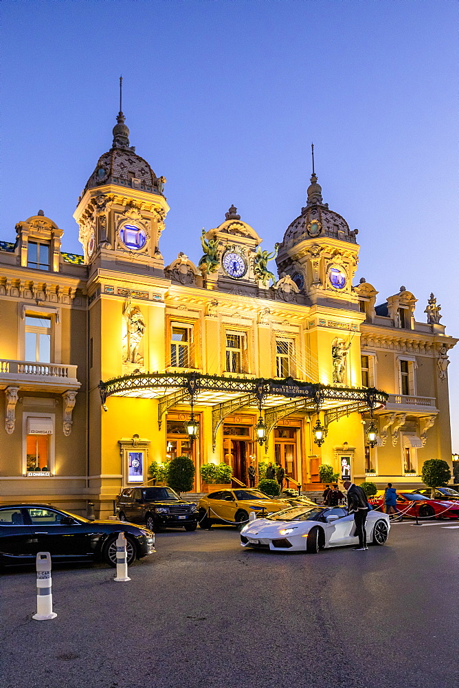 Monte Carlo Casino at dusk, Monte Carlo, Monaco, Mediterranean, Europe